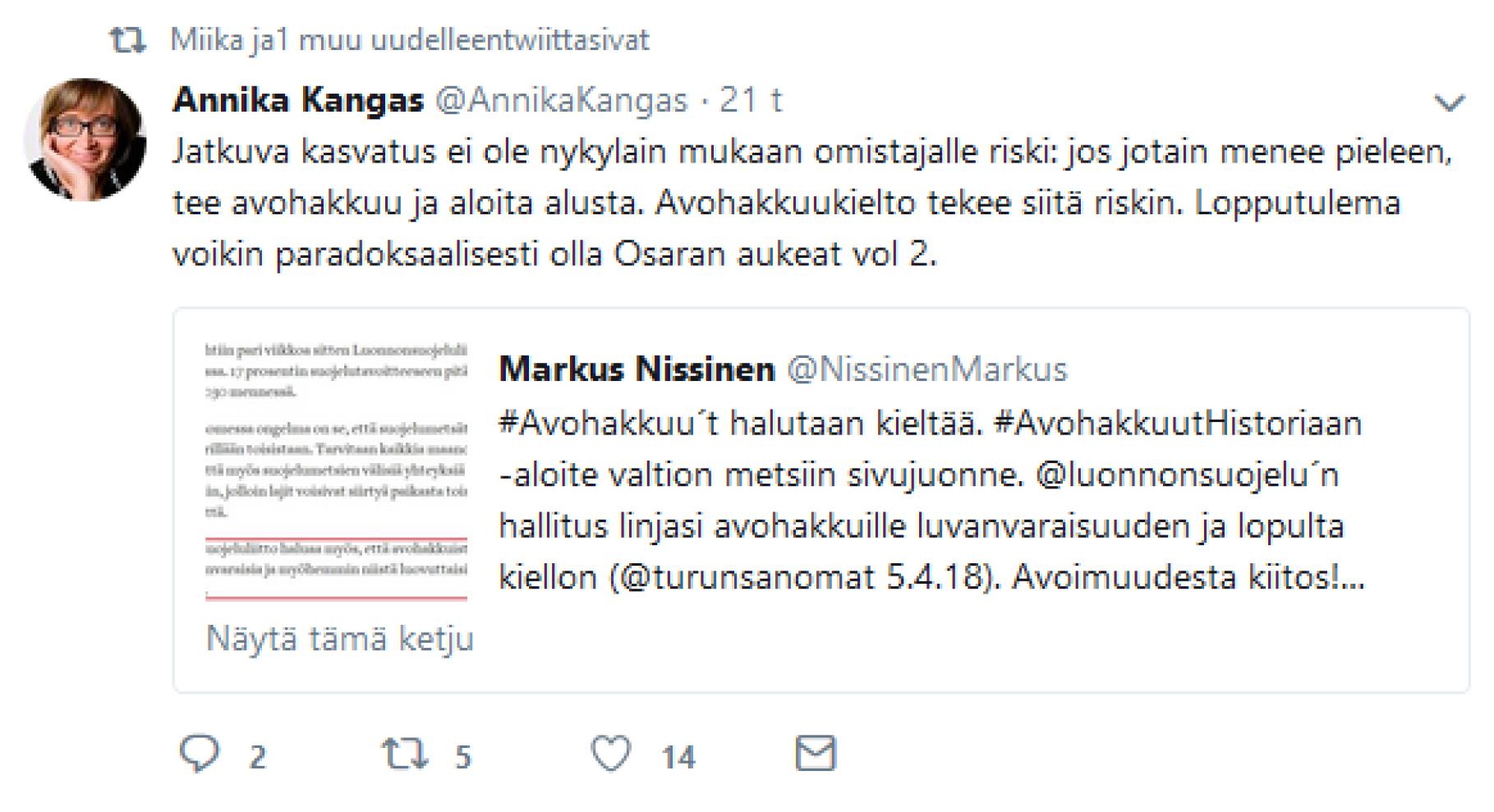Annika Kankaan twiitti 23.5.2018