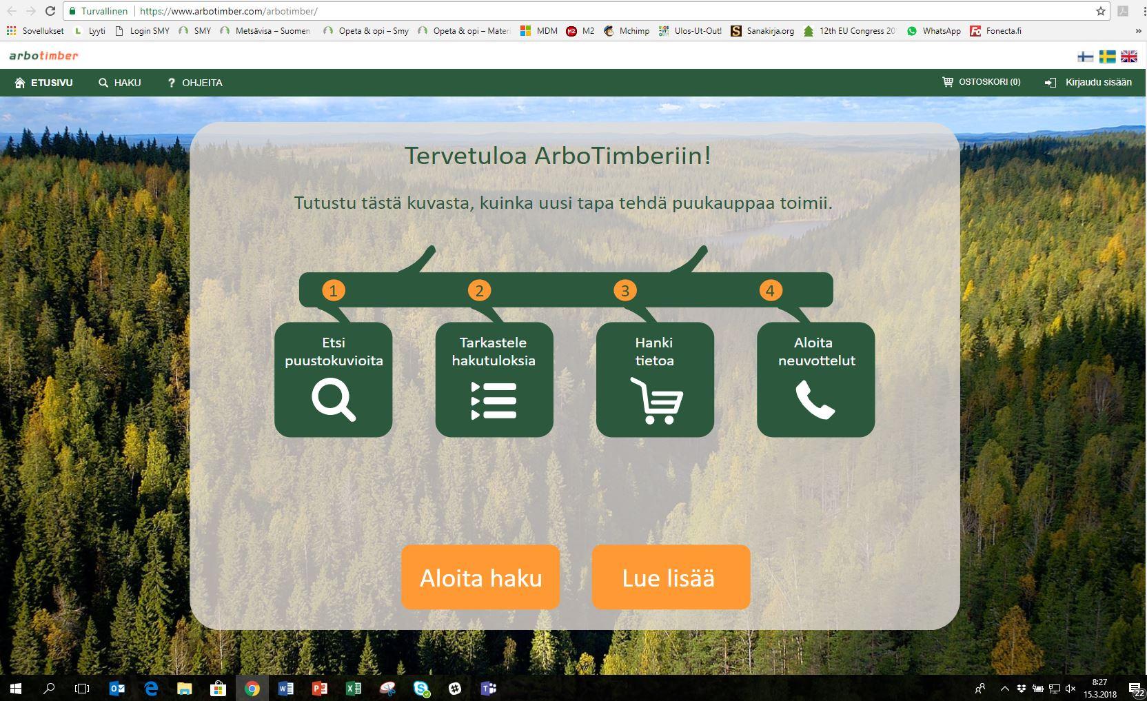 ArboTimber-ohjelman etusivu. Kuvankäsittely: Suvi Pessala