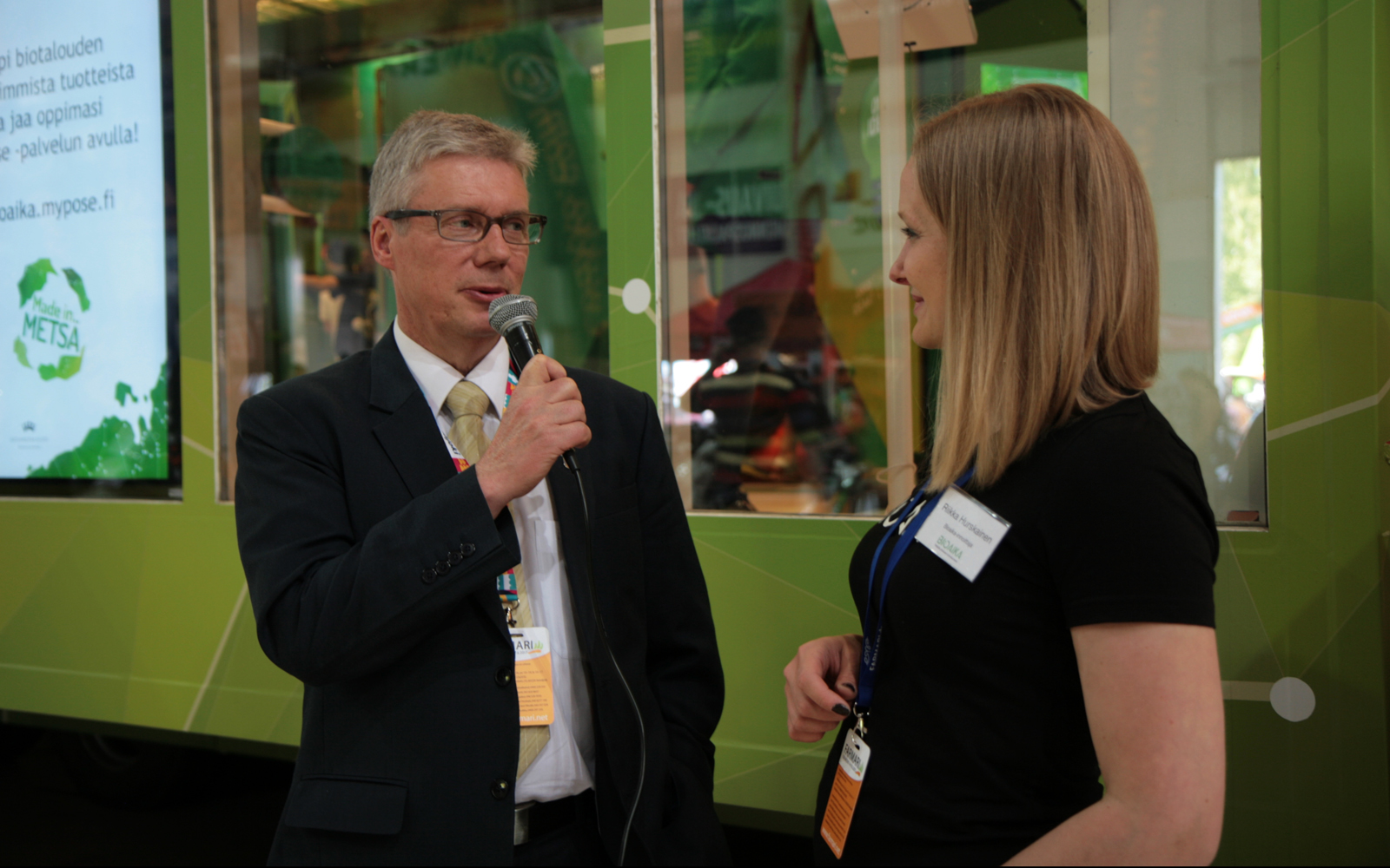 """""""The Bio Era is the future,"""" says Jorma Rasinmäki, the Mayor of Seinäjoki, interviewed by one of the Bio Era guides Riikka Hurskainen. """"The younger you are when learning about these themes, the better the innovations will be."""" Photo: Anna Kauppi"""