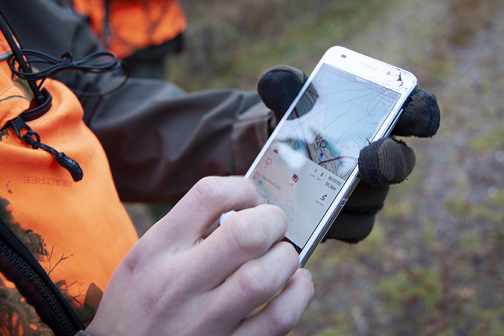 Hunting dogs are tracked using a GPS locator. Photo: Anna Kauppi