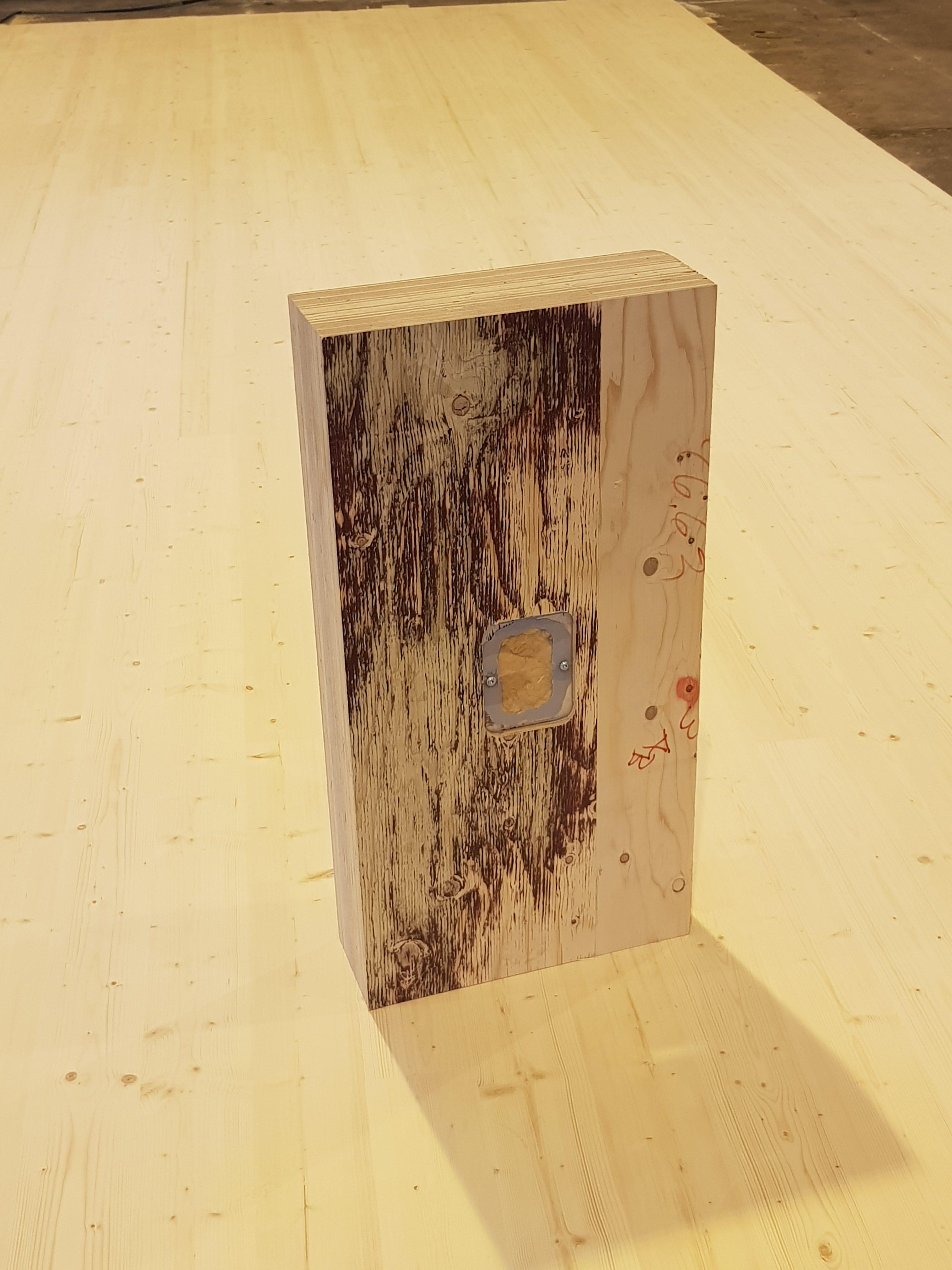 Timberpointin kosteusanturi puuelementin pinnassa. Kuva: Timberpoint