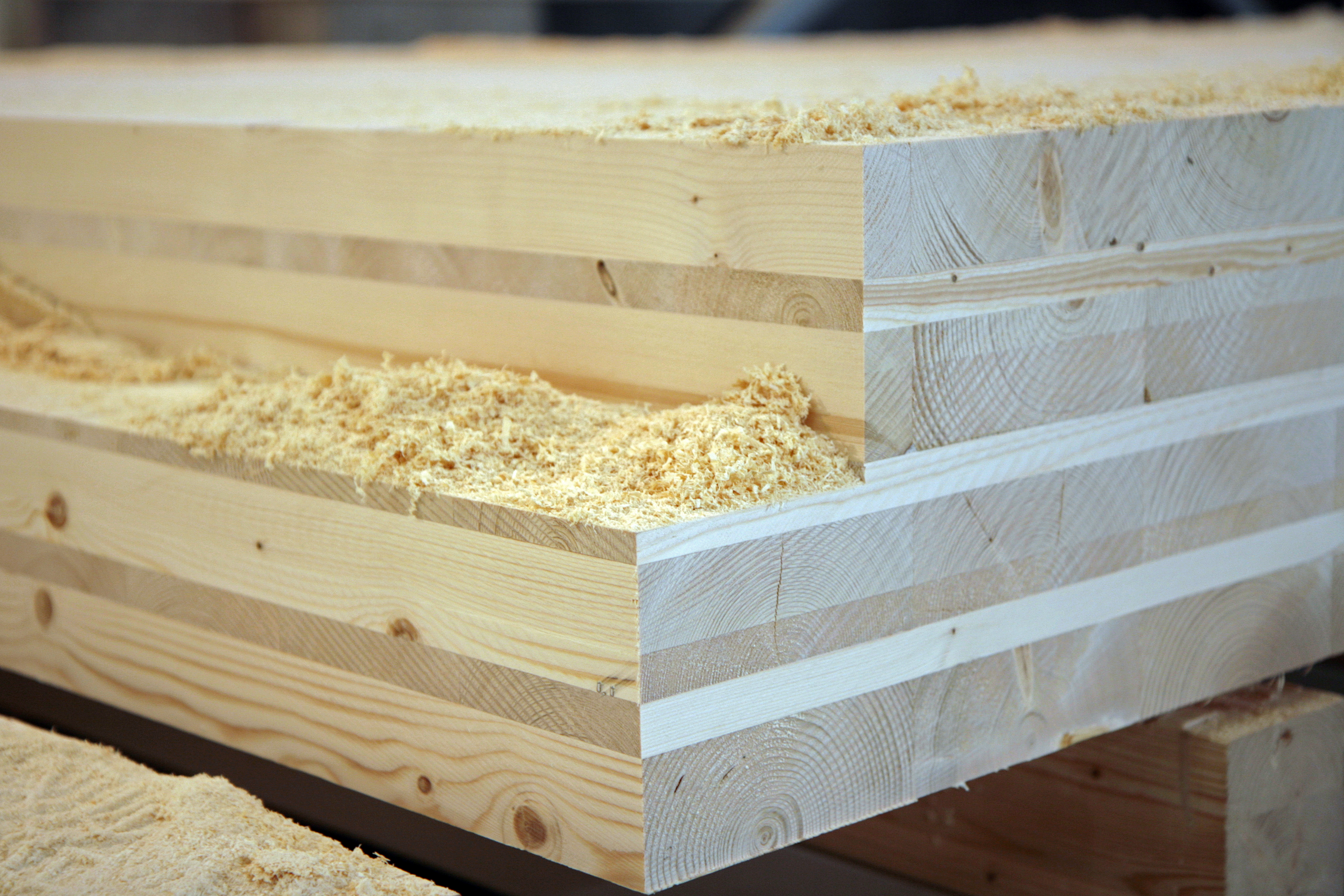 The people in Kuhmo have something unique to offer to the rest of the world: the close-grained Kainuu timber is sometimes even said to be the best in the world for sawmilling. The photo shows cross-laminated timber (CLT). Photo: Anna Kauppi