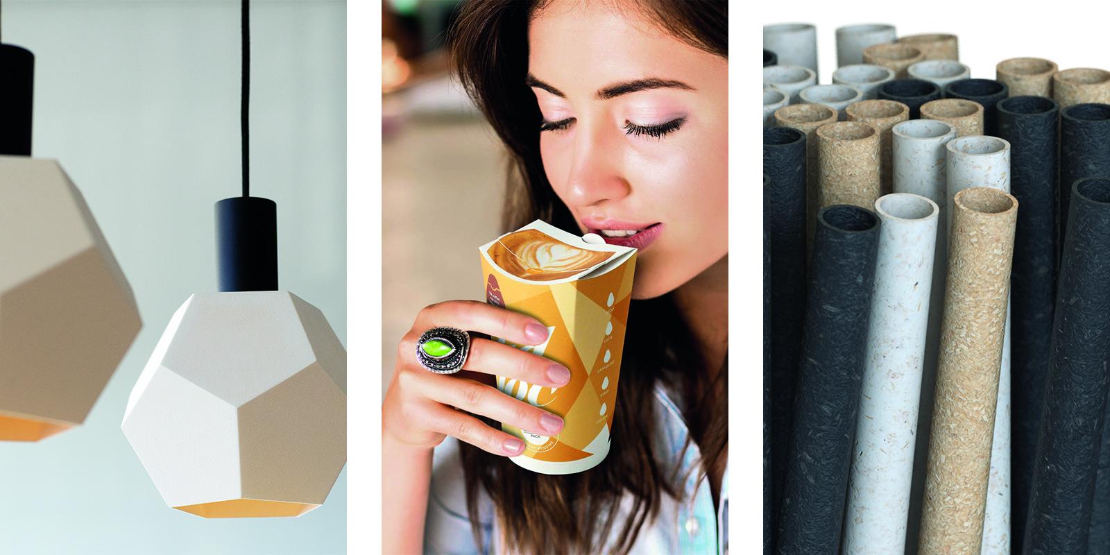 UPM:n 3D-tulostusmateriaali, Metsä Groupin muovitokanneton kahvimuki ja Stora Enson biokomposiittiset juomapillit ovat esimerkkejä metsäteollisuuden viime vuoden kestävistä lanseerauksista. Kuvat: UPM, Metsä Group, Stora Enso