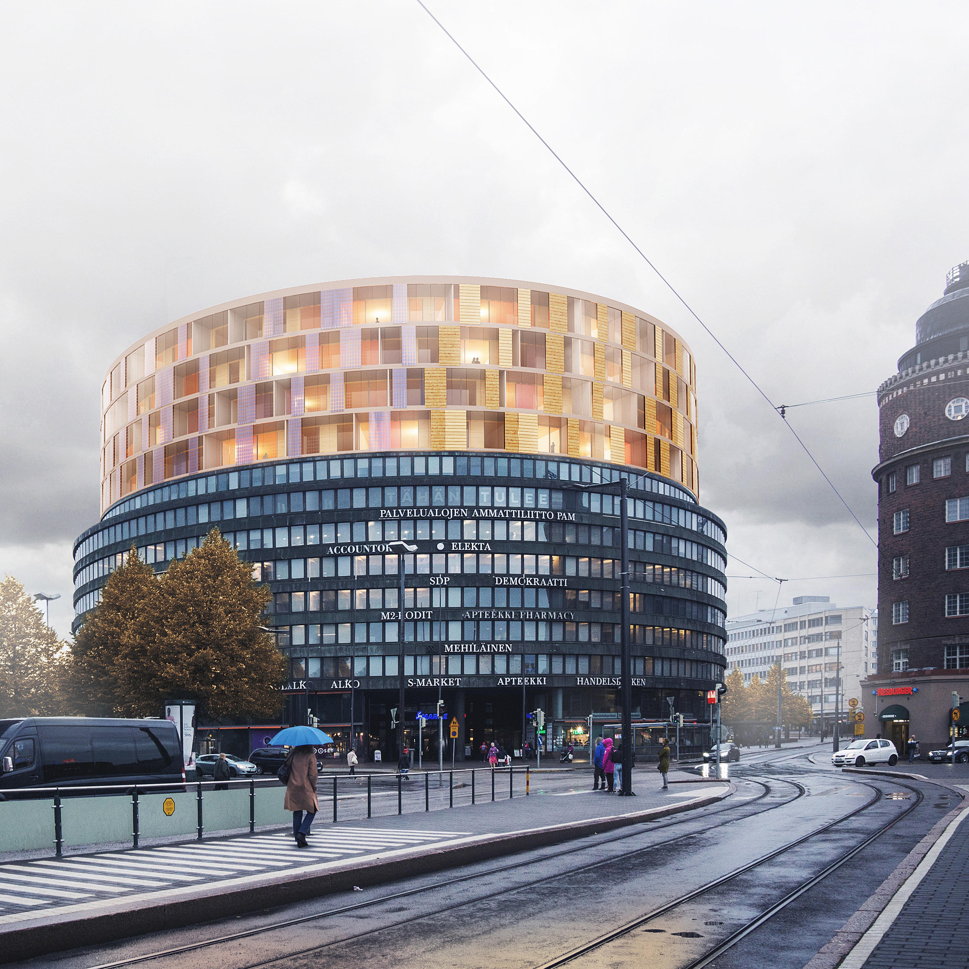 Plug-In kilpailutyö Helsingin Ympyrätaloon Metsä Woodin puulisäkerrosrakentamisessa. Kuva: Metsä Wood