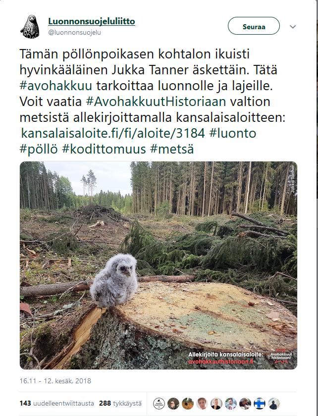 Kuvakaappaus Luonnonsuojeluliiton Twitter-viestistä 12.6.2018, jonka kuva osoittautui lavastukseksi.