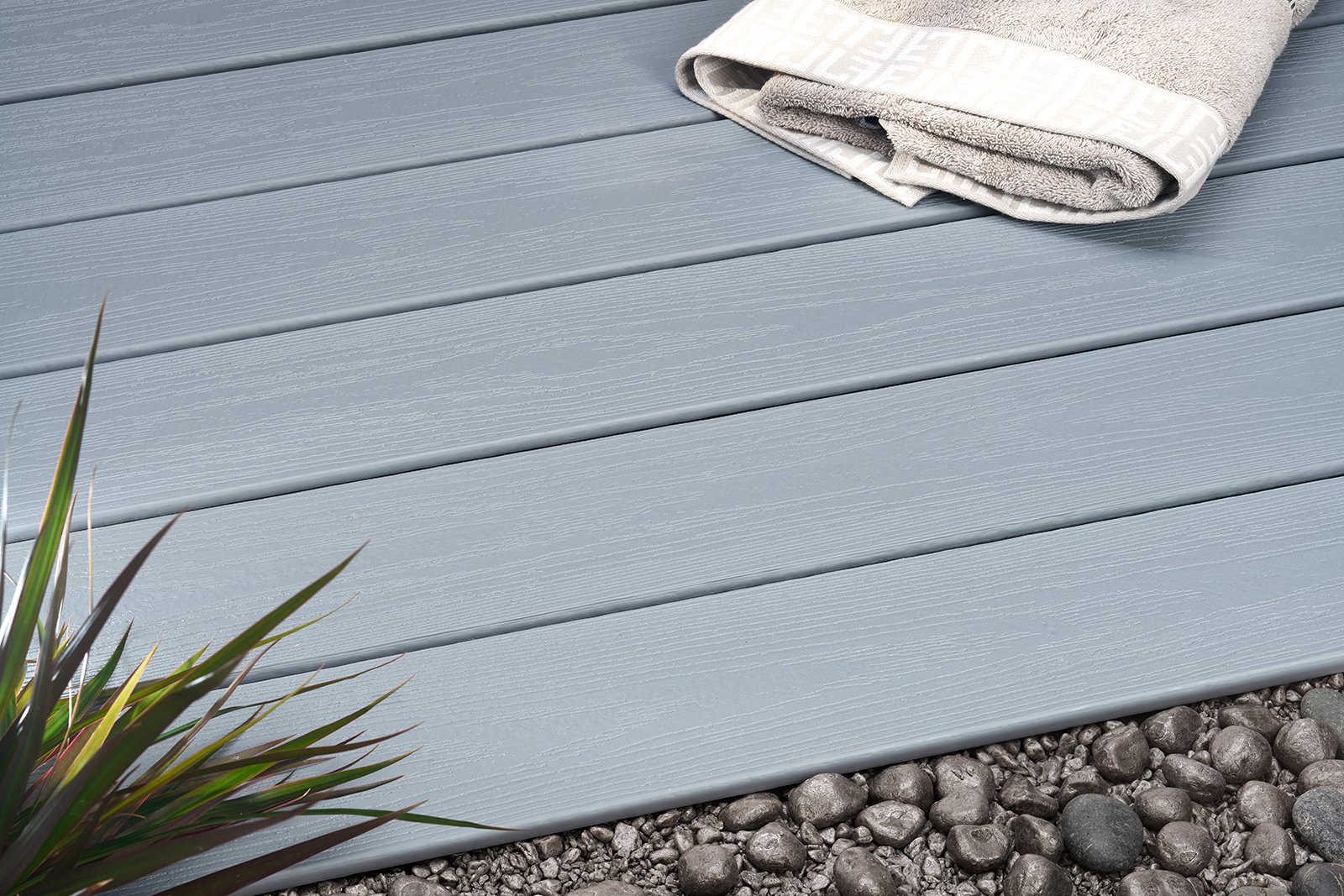 This decking board product made of biocomposite contains 75% recycled materials. Photo: UPM