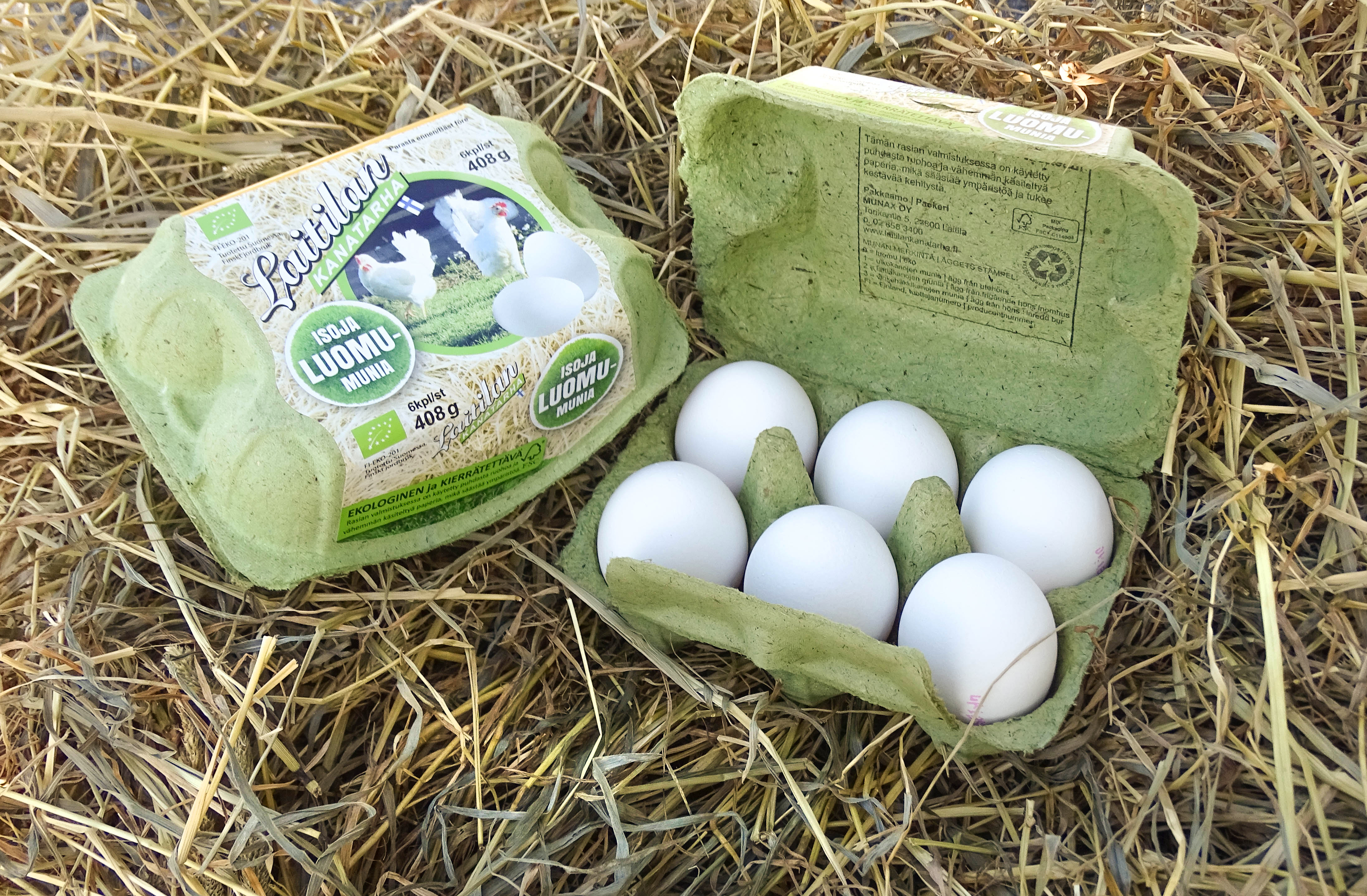 GreeNest - innovative egg packaging made with grass fibers. Photo: Munax Oy