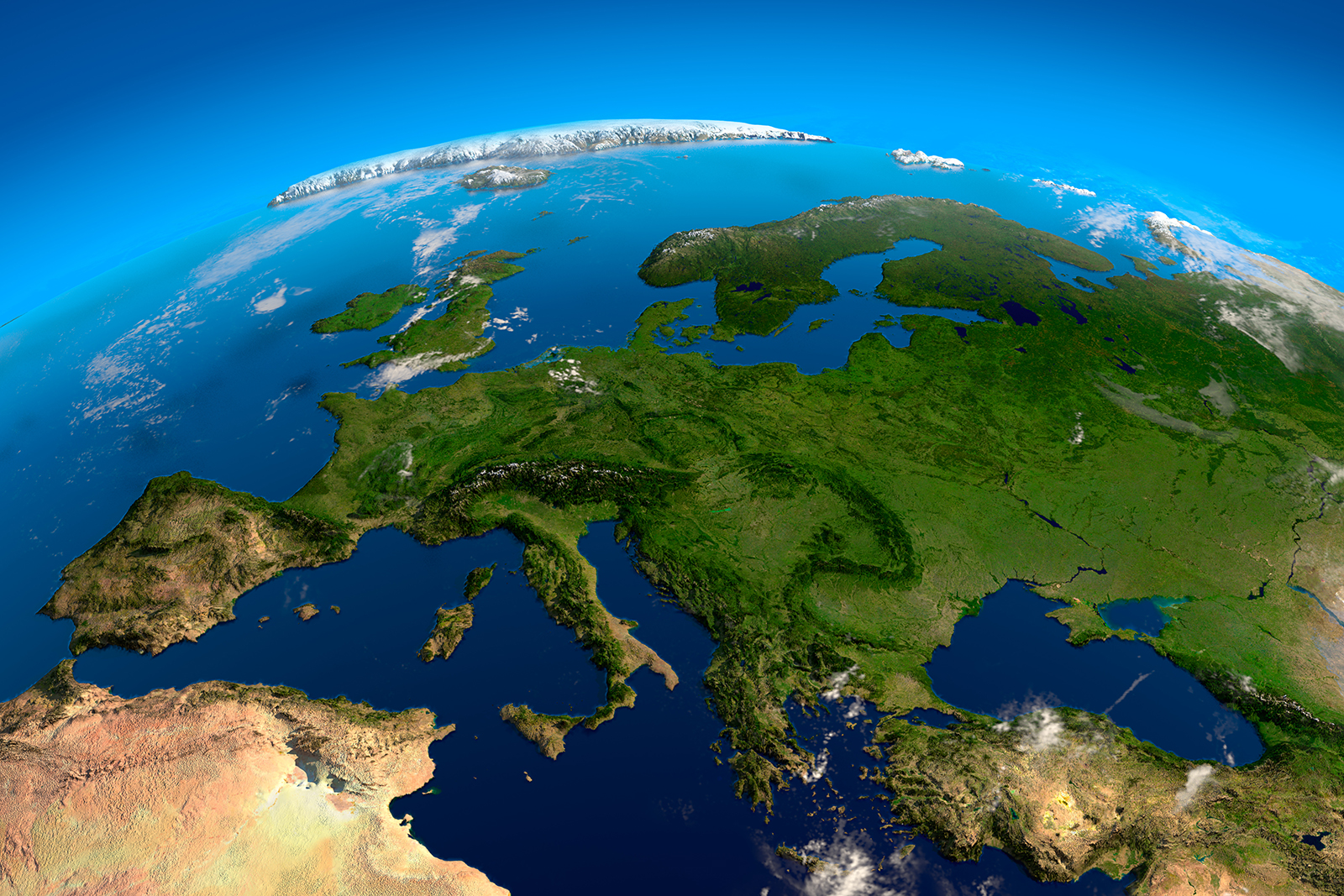 Europe, the view from the satellites. Photo: Shutterstock