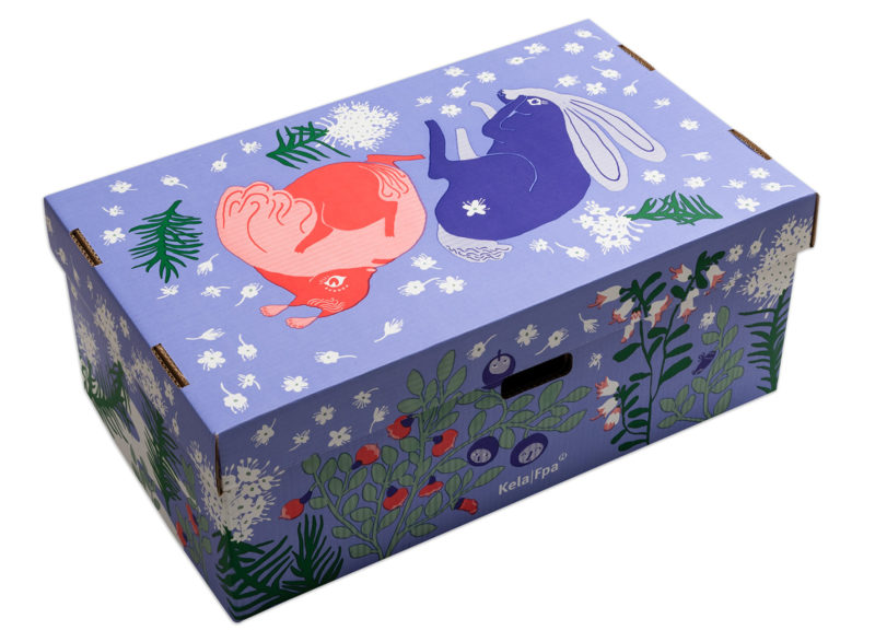 Äitiyspakkauksen nykyinen laatikko. Kuva: Kela